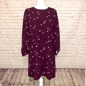 Purple Floral Long Sleeve Shift Dress, size Large